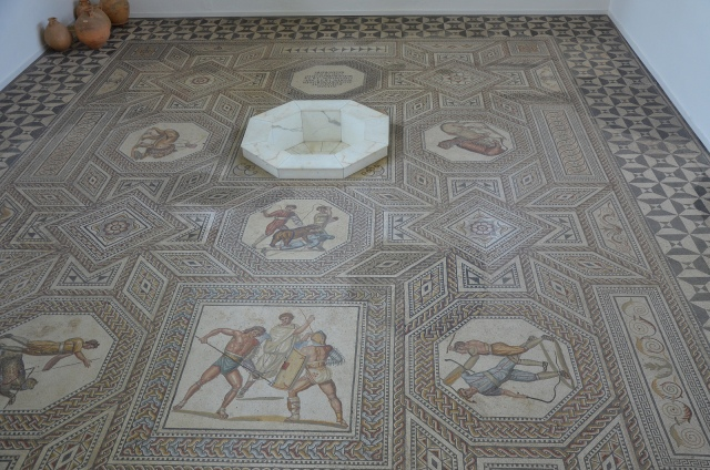 General view of the gladiator mosaic at the Roman villa in Nennig, Germany © Carole Raddato