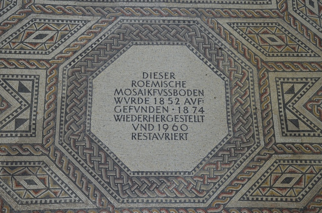 The inscribed panel, the gladiator mosaic at the Roman villa in Nennig, Germany © Carole Raddato