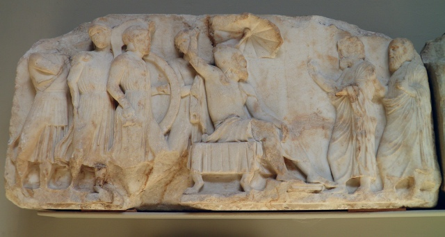 Marble frieze slab from the Nereid Monument of Xanthos  showing a Lykian ruler in oriental dress, carved about 390-380 BC, British Museum, London © Carole Raddato