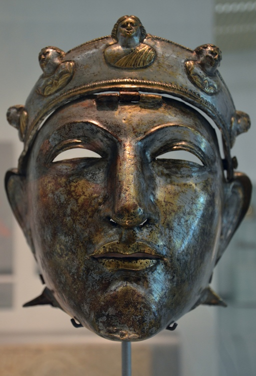 The Nijmegen cavalry helmet, an iron mask sheathed in bronze and silver discovered in 1915 on the left bank of the Waal river near Nijmegen, second half of the first century, Museum het Valkhof, Nijmegen (Netherlands) © Carole Raddato