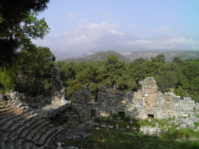 The Roman theatre with Mount Olympus in the background , Phaselis © Carole Raddato