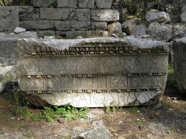 Inscription on the gate of Hadrian, Phaselis © Carole Raddato