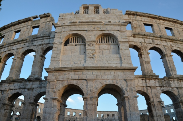 One of the four towers of the Pula Arena
