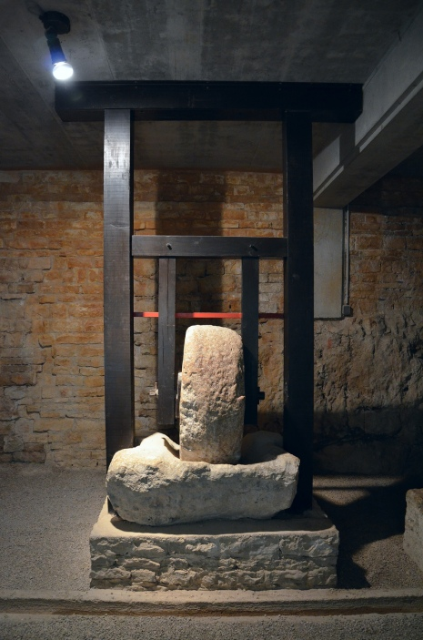 Olive mills stone, Exhibition of viticulture and olive growing, Pula Arena underground passages © Carole Raddato