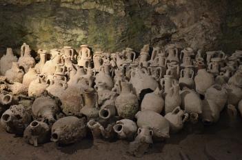 Permanent exhibition of amphorae in the underground area of Pula's amphitheatre, Colonia Pietas Iulia Pola Pollentia Herculanea, Histria © Carole Raddato