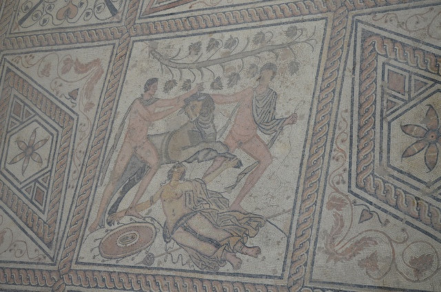 The Punishment of Dirce mosaic, central panel, Pula © Carole Raddato