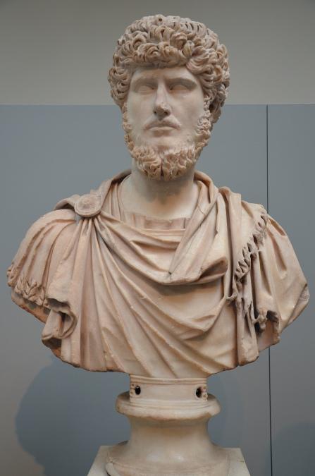 Marble bust of the emperor Lucius Verus, from Rome, circa 161-170 AD British Museum