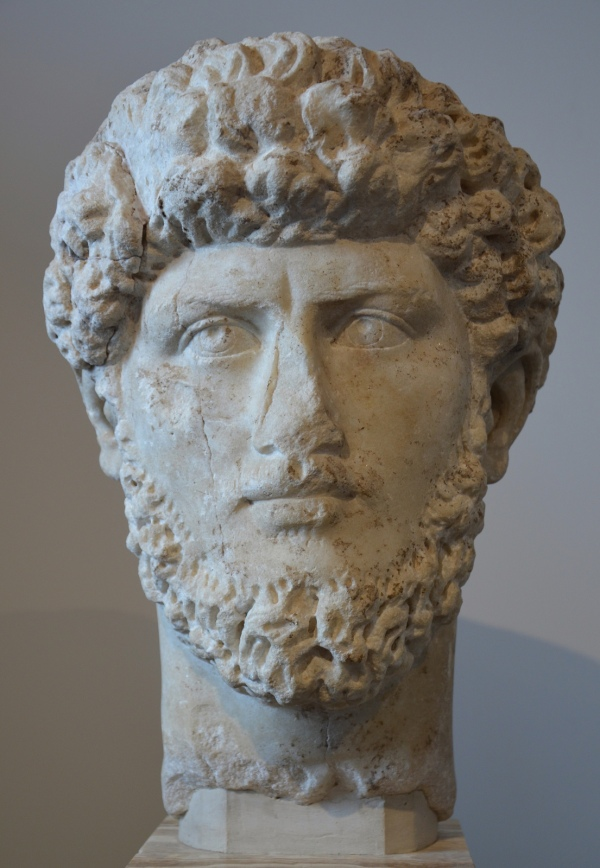 Portrait of Lucius Verus, replica of the mid 3rd century AD, found in the Roman Forum Palatine Museum, Rome