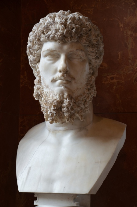 Colossal head of Lucius Verus (mounted on a modern bust), from a villa belonging to Lucius Verus in Acqua Traversa near Rome, between AD 180 and 183 AD (posthumous), Louvre Museum