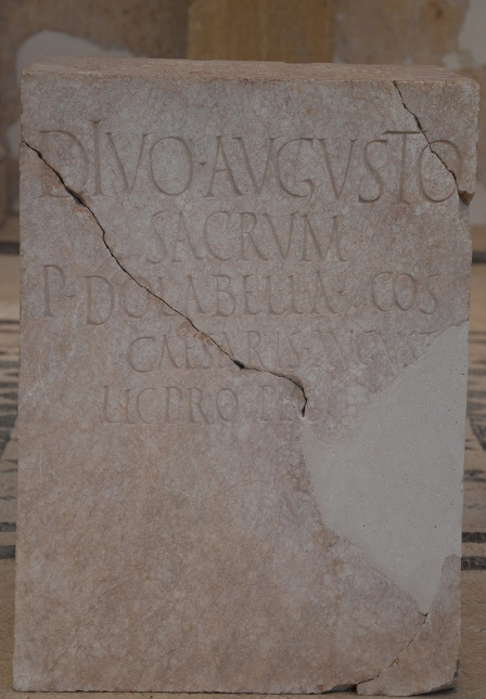 Inscription honoring the emperor Augustus, erected by Publius Cornelius Dolabella, the governor of the province of Dalmatia, 1st half of 1st century AD, Archaeological museum Narona © Carole Raddato