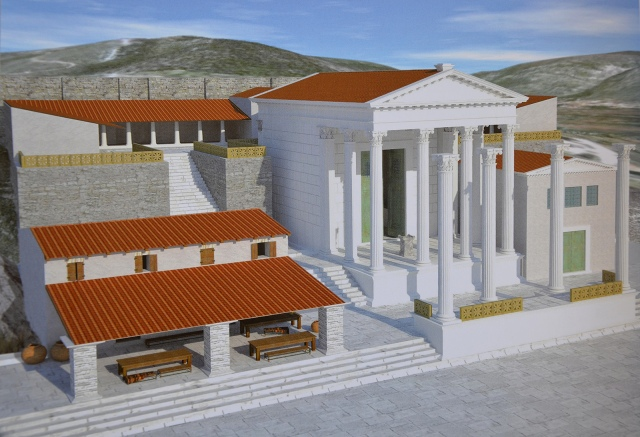Reconstruction drawing of the Augusteum, Archaeological museum Narona