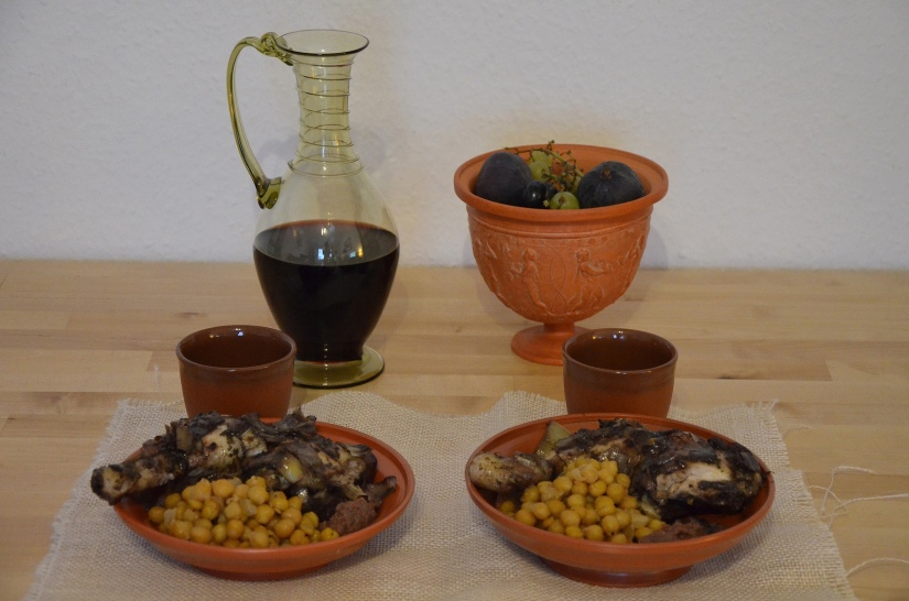 Parthian Chicken & Chickpeas accompanied with Date Paste and Roman red wine © Carole Raddato