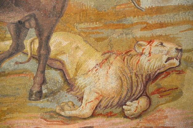 Detail of the Centaur Mosaic; one of the wild cast is dying © Carole Raddato