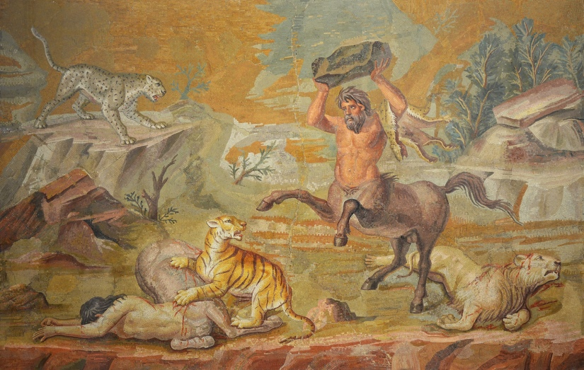 Pair of Centaurs Fighting Wild Cats Mosaic from Hadrian's Villa, c. 130 AD, Altes Museum Berlin © Carole Raddato