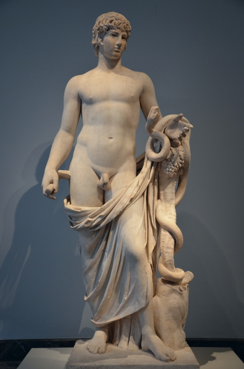 Antinous as Agathodemon. headless marble statue completed with an Antinous' head, 130–138 AD, Altes Museum, Berlin