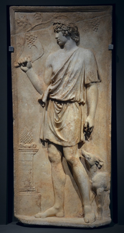 Antinous as Silvanus (god of woods and fields), harvesting grapes, marble relief, 130–138 AD, from Torre del Padiglione.