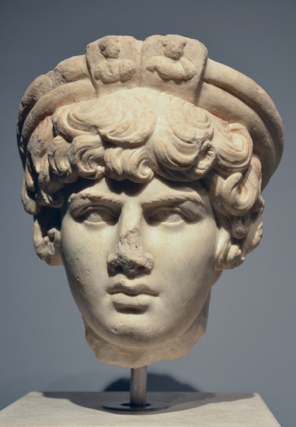 Head of Antinous, probably as Priest of Attis, found in Ostia, Campo della Magna Mater, in the spring of 1869, Palazzo Massimo alle Terme, Rome