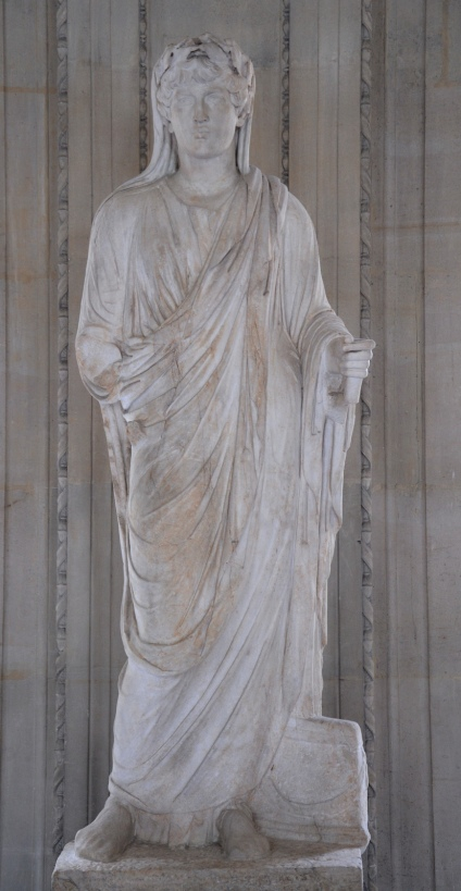 Antinous as a priest of the imperial cult, marble statue found in Cyrene (Libya), Louvre Museum, Paris