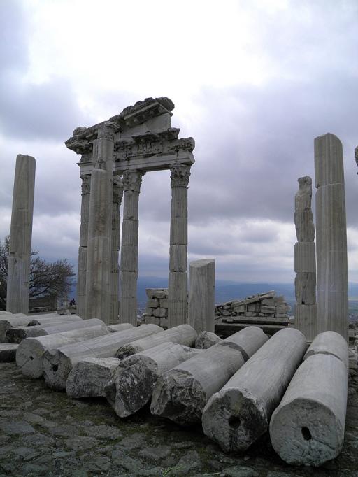 Fallen columns from the North portico, Temple of Trajan, Upper Acropolis, Pergamon © Carole Raddato