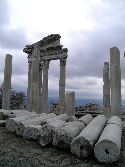 Fallen columns from the North portico, Temple of Trajan, Upper Acropolis, Pergamon © Carole Raddato
