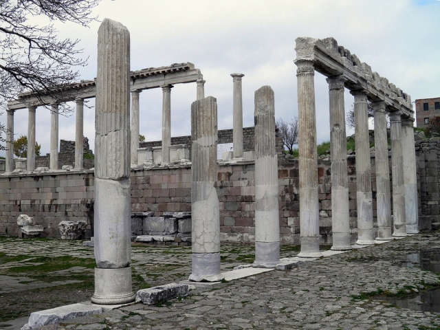The restored east and north porticoes of the Temple of Trajan (Trajaneum), Upper Acropolis, Pergamon © Carole Raddato