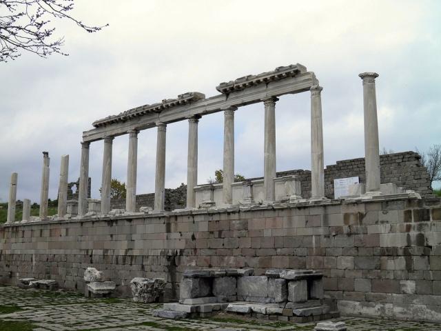 The restored  north elevated portico, Temple of Trajan (Trajaneum), Upper Acropolis, Pergamon © Carole Raddato
