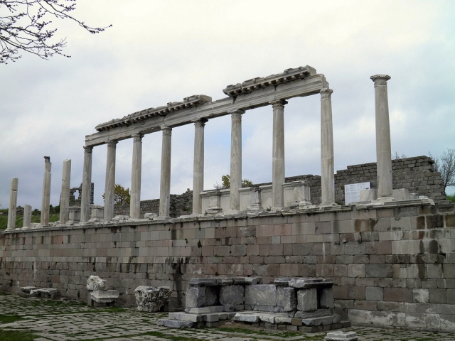 The restored  north elevated portico, Temple of Trajan (Trajaneum), Upper Acropolis, Pergamon © Carole Raddato