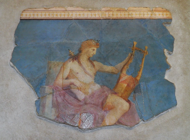 Apollo Kitharoidos. Painted plaster, Roman artwork from the Augustan period, Antiquarium of the Palatine © Carole Raddato