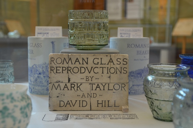 Roman glass exhibition in the reconstructed manor hall (atrium), Roman Villa Borg, Germany © Carole Raddato
