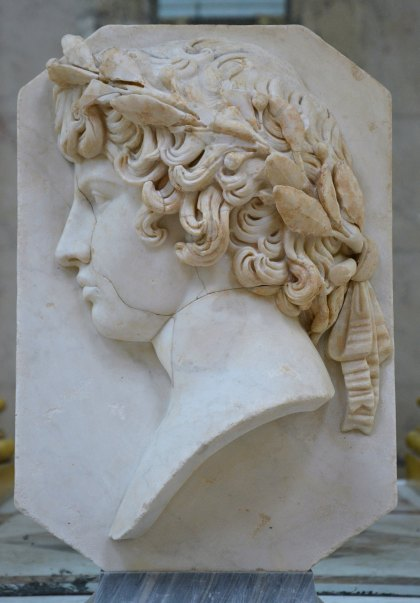 Relief with a portrait of Antinous crowed with a laurel wreath. The marble slab, nose, lips, chin and neck are modern.