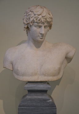 Portrait bust with head of Antinous. Found in Patras in 1856 along with bust no. 418. Dated a little after 130 AD. Inv. no. 417