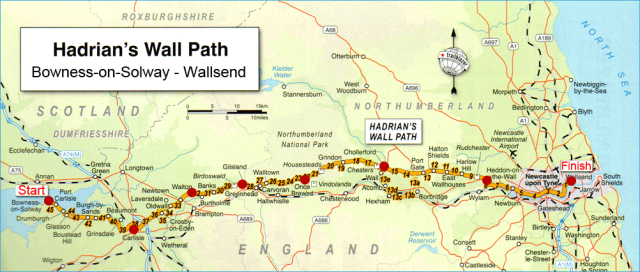 Hadrian's Wall path map