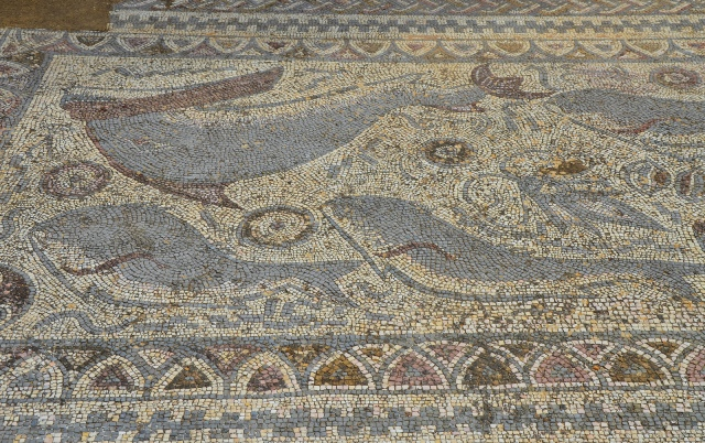 Mosaic floor depicting an underwater scene of sea creatures, eartern side of the peristylum, Roman Ruins of Milreu, Estói, Portugal © Carole Raddato