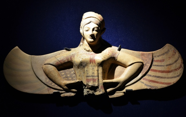 Terracotta acroterial statue of a Harpy/Siren, from Gabii, end of 6th century BC - beginning 5th century BC, Monsters. Fantastic Creatures of Fear and Myth Exhibition, Palazzo Massimo, Rome © Carole Raddato