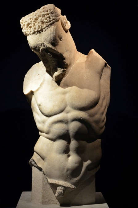 Marble statue of a Minotaur, part of a group with Theseus, 1st century AD, found in Rome in Via San Tommaso in Parione in 1895, Monsters. Fantastic Creatures of Fear and Myth Exhibition, Palazzo Massimo, Rome © Carole Raddato