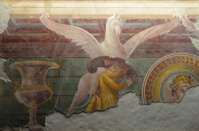 Fresco depicting a griffin attacking one of the Arimaspi (legendary Scythian), from the Villa of the Mysteries in Pompeii, 1st century BC, Monsters. Fantastic Creatures of Fear and Myth Exhibition, Palazzo Massimo, Rome © Carole Raddato
