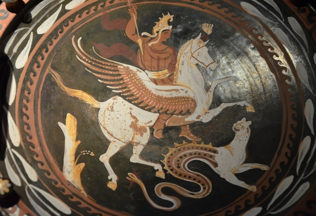 Apulian plate with Bellephoron on Pegasus fighting the Chimera, 2nd half of 4th century BC, Monsters. Fantastic Creatures of Fear and Myth Exhibition, Palazzo Massimo, Rome © Carole Raddato