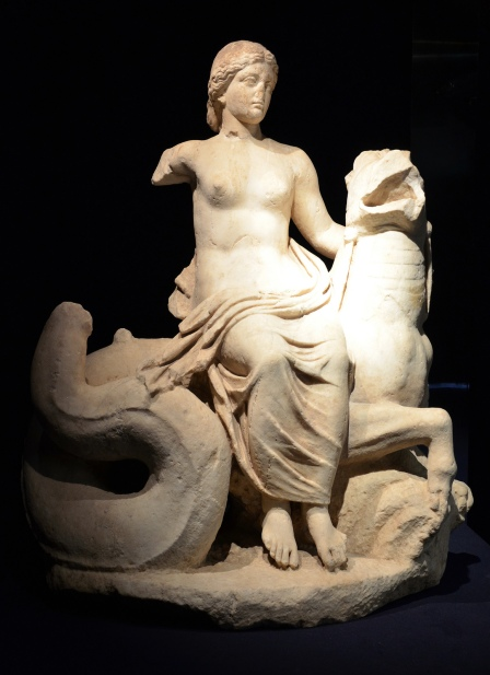 Marble group of a Nereid on a sea monster, from Rome, 1st century BC, Monsters. Fantastic Creatures of Fear and Myth Exhibition, Palazzo Massimo, Rome © Carole Raddato
