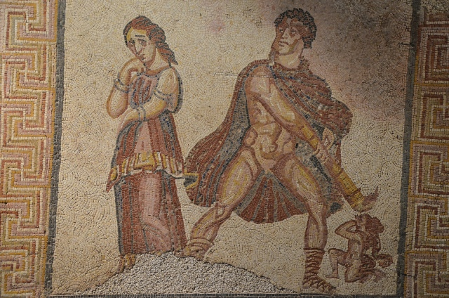 Mosaic panel depicting the madness of Heracles (Hercules furens), from the Villa Torre de Palma near Monforte, 3rd-4th century AD, National Archaeology Museum of Lisbon, Portugal © Carole Raddato