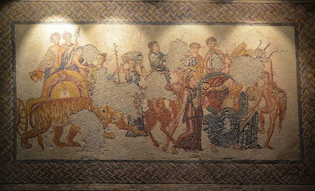Mosaic panel depiciting the Triumph of Bacchus, from the Villa Torre de Palma near Monforte, 3rd-4th century AD, National Archaeology Museum of Lisbon, Portugal © Carole Raddato