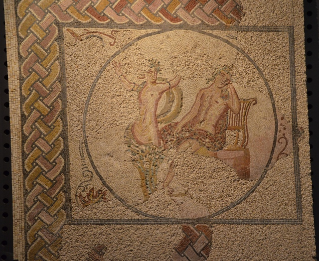Mosaic panel depicting Apollo and Daphne, from the Villa Torre de Palma near Monforte, 3rd-4th century AD, National Archaeology Museum of Lisbon, Portugal © Carole Raddato