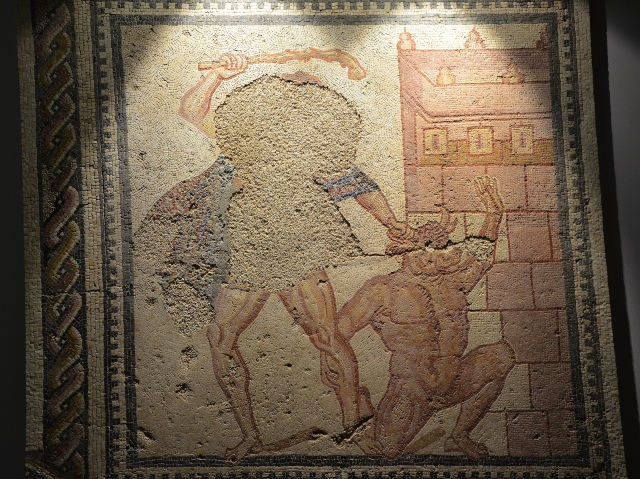 Mosaic panel depicting Theseus and the Minotaur, from the Villa Torre de Palma near Monforte, 3rd-4th century AD, National Archaeology Museum of Lisbon, Portugal © Carole Raddato
