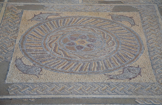 Mosaic floor in the House of the Fountains with fish, Conimbriga, Lusitania, Portugal © Carole Raddato
