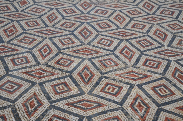 Mosaic floor in the House of the Swastika with geometric patterns, Conimbriga, Lusitania, Portugal © Carole Raddato