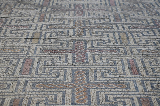 Mosaic floor in the House of the Swastika with swastikas motifs, Conimbriga, Lusitania, Portugal © Carole Raddato