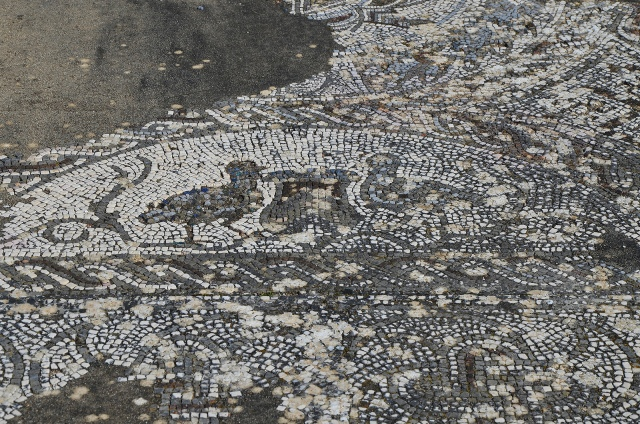 Mosaic floor depicting two birds an either side of a Kantharos, Roman Villa of Pisões, Lusitania, Portugal © Carole Raddato
