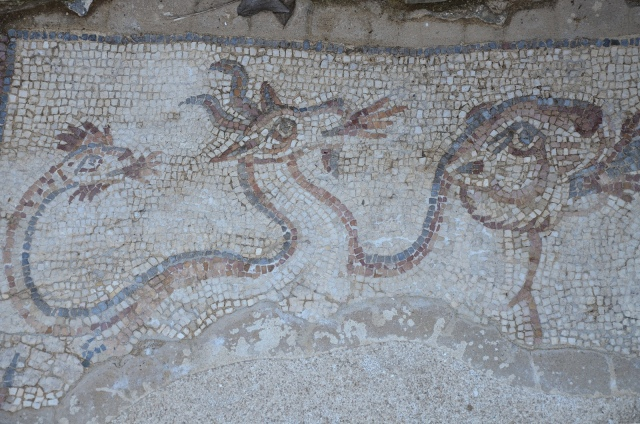 Detail of the mosaic floor depicting Bellerophon, in the figure of Saint-Michael or Saint-George, riding Pegasus and spearing Chimera, Mertola, Lusitania, Portugal © Carole Raddato