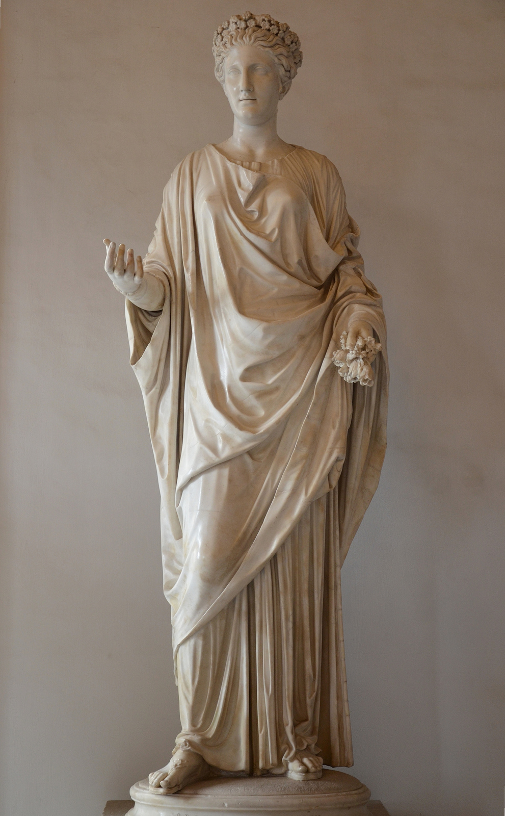 Art and sculptures from Hadrian's Villa: Marble statue of Flora, goddess of flowers and the season of spring