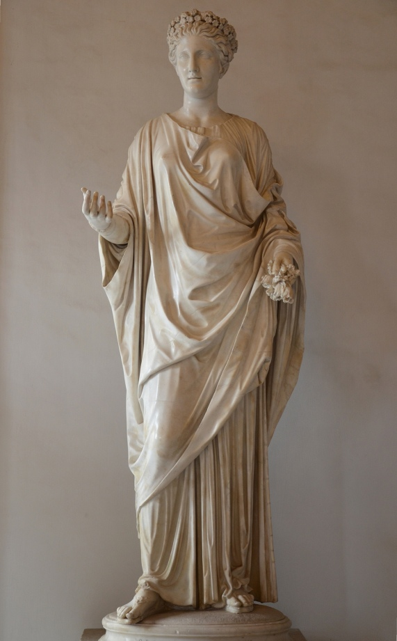 Marble statue of Flora, goddess of flowers and the season of spring, Roman artwork from the Imperial period with some modern alterations, from the Hadrian's Villa, Palazzo Nuovo, Capitoline Museums © Carole Raddato
