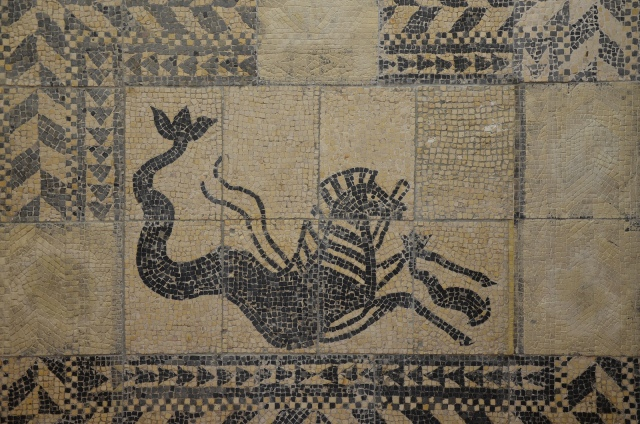 Mosaic with Hippocamp, a mythological creature with hybrid body, half horse and half fish, from São Sebastião do Freixo, National Archaeology Museum of Lisbon, Portugal © Carole Raddato